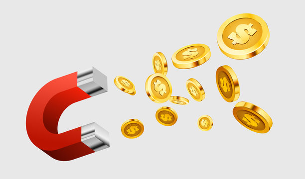 Magnet attracts money. The concept of investing.