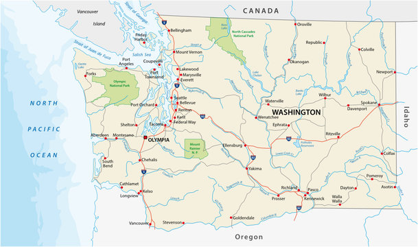 washington state road and national park vector map