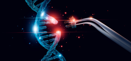 Abstract luminous DNA molecule. Genetic and gene manipulation concept. Cut of replacing part of a DNA molecule. Medicine. Innovative in science. Medical science and biotechnology. Wall mural