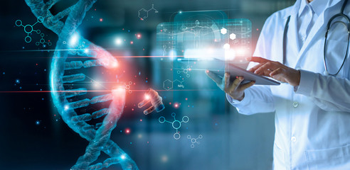 Abstract luminous DNA molecule. Doctor using tablet and check with analysis chromosome DNA genetic of human on virtual interface. Medicine. Medical science and biotechnology. Wall mural