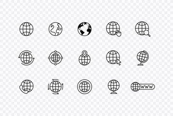 Wall Mural - Globe and earth planet web icons in line style. Navigational Equipment, Planet Earth, Airplane, Map. Vector illustration.