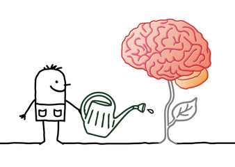 Cartoon gardener Watering a Fresh new Brain