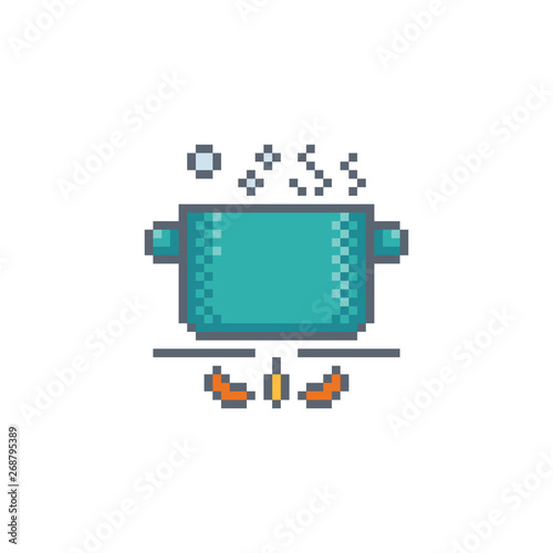 Pixel art pot icon  Kitchen utensils vector sign for web