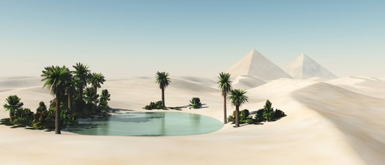 Oasis in the desert of sand, palm trees and a pond in the sands,