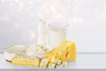 Dairy products collection on green light background