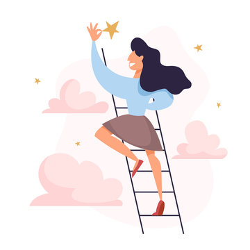 Businesswoman on the ladder grab the golden star