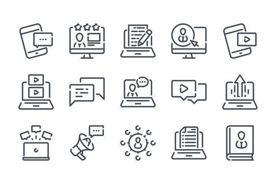 Blog and Content related line icon set. Online Blogging outline icon collection.