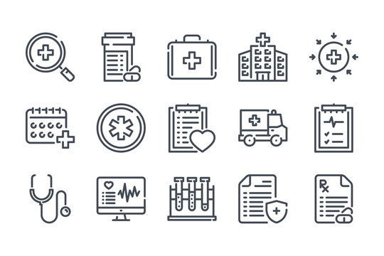 Medical care related line icon set. Medicine, hospital and medical service linear vector icons.