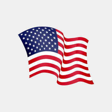 United States of America waving flag. Vector illustration. US waving flag