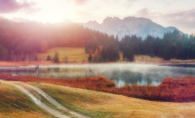 Fotomurales - Womderful Autumn landscape. Road on meadow with grass on top view. Fairy Alpine lake Geroldsee with morning fog under sunlit. Dramatic Impressive scene. Amazing nature background