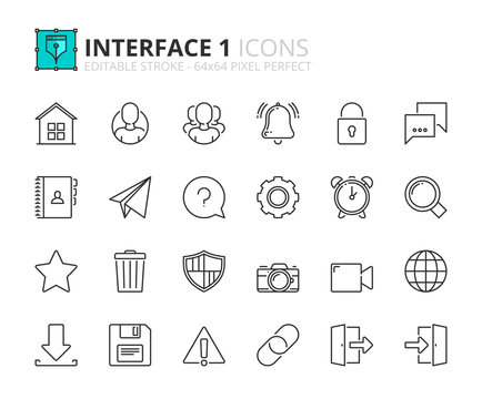 Outline icons about interface 1