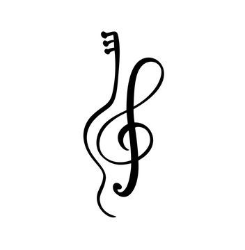 violin, guitar and treble clef Music key abstract hand drawn vector logo and icon. Musical theme flat design template. Isolated on the white background