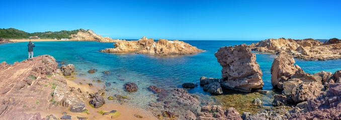 Wall Mural - Panorama of Cala Pregonda beach in Menorca, Balearic islands, Spain