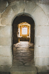 interior window of the castle in the abandoned village of granadilla in caceres spain