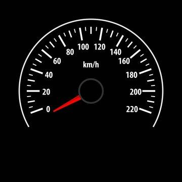 Speedometer gauge isolated on black background. Vector illustration.