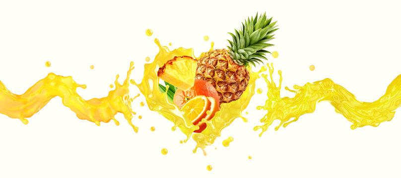 Orange, pineapple fruit juice or smoothie liquid splash mix. Healthy fruits juice or smoothie splash label ad banner design with orange, pineapple fruits mix and juice splash wave. 3D