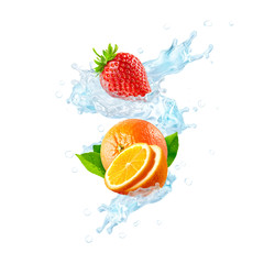 Fototapeta Fresh cold pure flavored water with orange, strawberry, orange slices wave splash. Clean infused water wave splash with citrus fruit, strawberry. Healthy flavored detox drink splash. 3D
