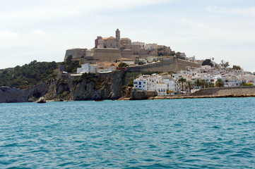 Foto op Plexiglas Vestingwerk Eivissa. Old city with a fortress. View from the sea.Ibiza Island.