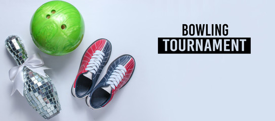 Bowling tournament. Bowling shoes, disco mirror skittle and bowling ball on white background. Indoor family sports.