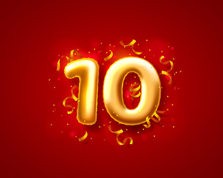 Festive ceremony balloons, 10th numbers balloons. Vector