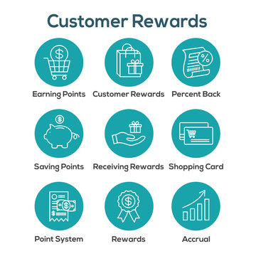Customer Rewards Icon Set - Shopping Bag and Discount Images