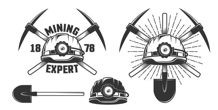 Mining vintage emblem - helmet and crossed picks. Vector illustration.