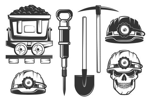 Miner equipment in retro style. Helmets and picks. Skull in hardhat.