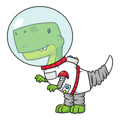 Vector Cartoon Tyrannosaurus Rex Dinosaur Astronaut Illustration