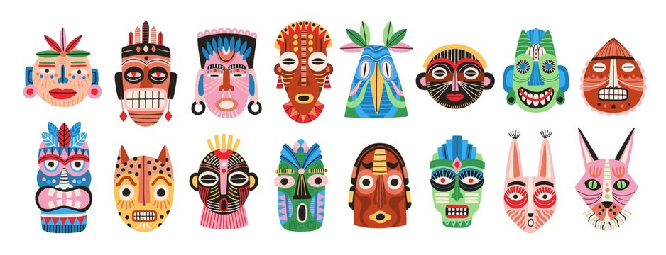 Collection of traditional ritual or ceremonial African, Hawaiian or Aztec masks shaped after human face or animal's muzzle isolated on white background. Flat cartoon colorful vector illustration.
