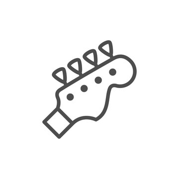 Musical instrument bass guitar line outline icon