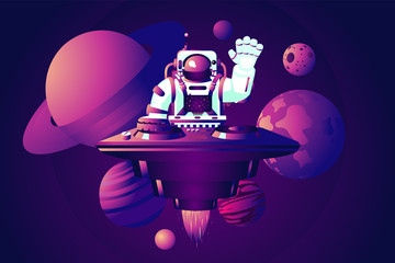 Universe party. DJ astronaut. Music dance event. Vector illustration with spaceman.