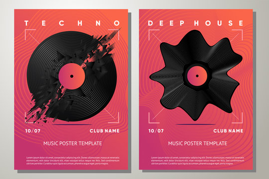 Electro party poster with vinyl record. Music festival flyer template with abstract element. Night club vector background.