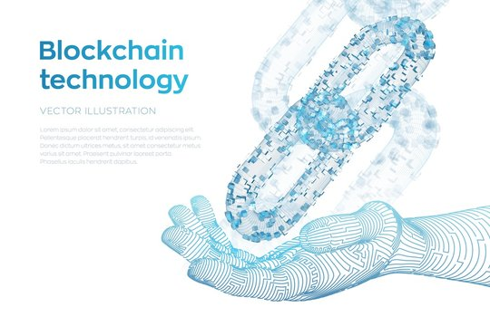 Block chain. Crypto currency. Blockchain concept. 3D wireframe chain with digital blocks in robotic hand. Editable cryptocurrency template. Stock vector illustration.