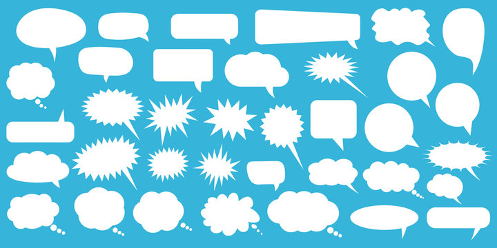 Set of speech bubbles. Blank empty vector white speech bubbles. Cartoon balloon word design.