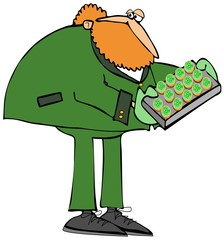 Redheaded leprechaun holding a tray of cookies