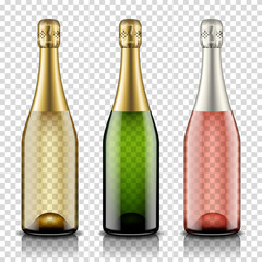 Champagne bottles set, isolated on transparent background.