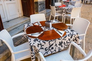 closeup of table in outdoor restaurant in Malaga city, Costa del sol, Spain
