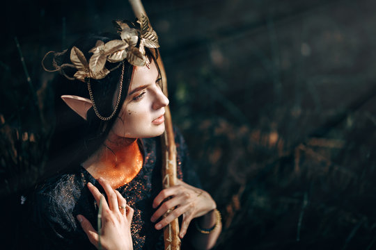 beautiful elf woman fabulous, fairy forest, famtasy young woman with long ears, long dark hair golden wreath crown on head