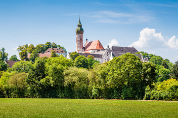 Fototapete - Famous Andechs Abbey in summer, district of Starnberg, Upper Bavaria, Germany
