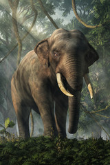 An Asian elephant, surrounded by a dense jungle, stands gazing back at you the viewer. It's ankle deep in thick ground cover with vines hanging from the trees behind it. 3D Rendering