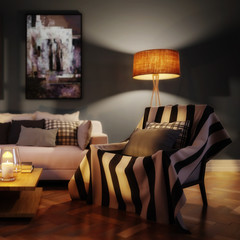 Cute living room interior with paintings by evening (focused) - 3d visualization