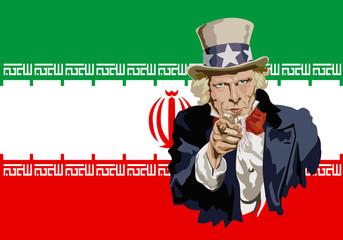 Concept du protectionnisme et de la guerre économique mondiale avec le portrait de l'Oncle Sam devant le drapeau de l'Iran, dénonçant d'un air menaçant, les accords sur le nucléaire iranien.