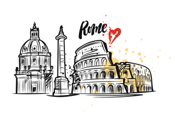Rome engraved illustration, hand drawn, sketch