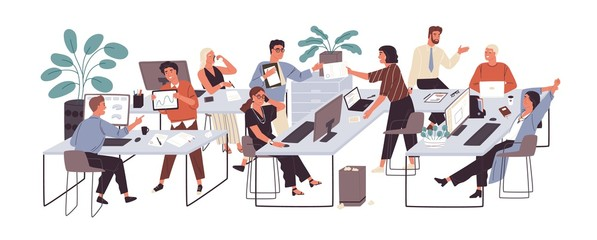 Group of office workers sitting at desks and communicating or talking to each other. Dialogs or conversations between colleagues or clerks at workplace. Flat cartoon colorful vector illustration.