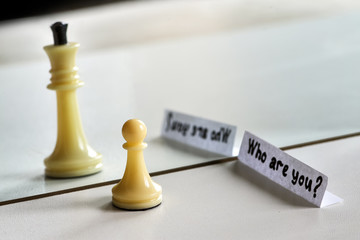 Chess in mirror image, concept search opportunities, self-development, improvement, struggle between good and evil,  struggle opposites, search solutions, split personality, human resource management.