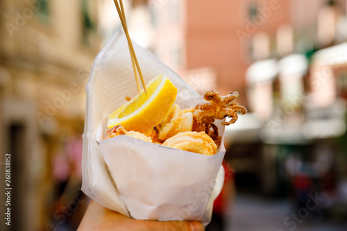 Typical Italian Seafood Fritto Misto Di Pesce Mixed Fried Fish