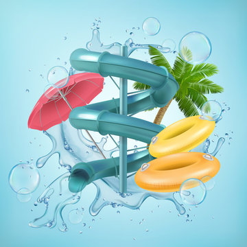 Realistic illustration of 3d screw slides realistic waterpark pool aquapark aqua park splash beach umbrella bubbles and lifebuoy palm Vector EPS 10