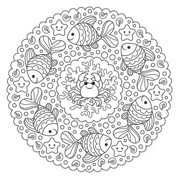 Coloring page mandala with a crab and a fish. Vector Illustration.