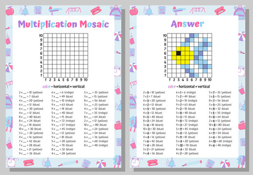Multiplication Mosaic Math Puzzle Worksheet. Educational Game. Coloring Book Page Mathematical Game. Pixel Art. Vector illustration.