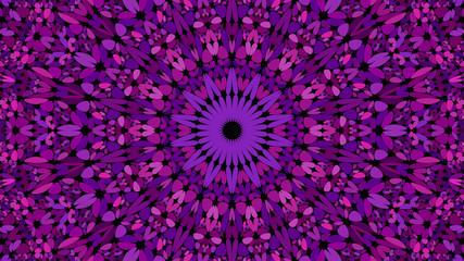 Purple flower mosaic mandala pattern wallpaper - bohemian abstract vector background illustration